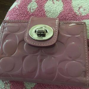 Coach patent leather mauve colored wallet